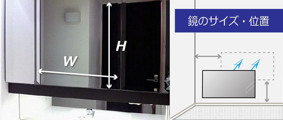 洗面台や手洗器の壁面に貼る洗面鏡をオーダーする方法→ステップ3